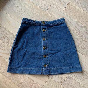 Jean Button-Down Mini Skirt